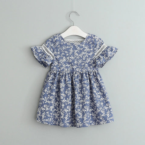 Baby Girl Dress 0-4 Years Cotton Summer Newborn Girl Dresses Blue Floral Print Dress Baby Girl Sundress for Girls Kids Clothes