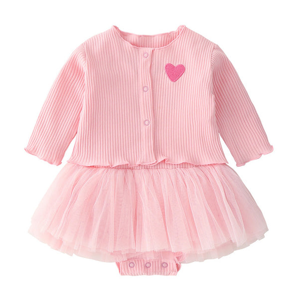 baby girl dress long sleeve Heart-shaped baptism dress for baby girls 1 year birthday cute dresses set white infant coat outfits