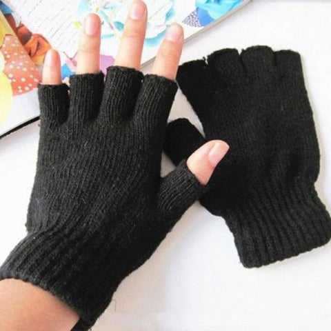 Back To Search Resultsapparel Accessories Hot Sale 1 Pair Mens Outdoor Half Finger Fitness Gloves Winter Black Knitted Stretch Elastic Thermal Warm Fingerless Gloves