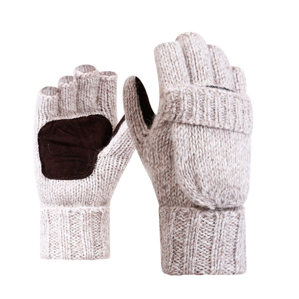 Fashion Knitted Fingerless Gloves Men Women Cashmere Wool Warm Flip Leather Mittens Winter Spring Male Half Finger Glove Guantes