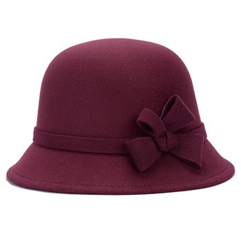 Vogue Ladies Women Girls  Flowers Hats Trendy Derby Wool Bowler Fall Winter Warm Lovers Fedoras Princess caps