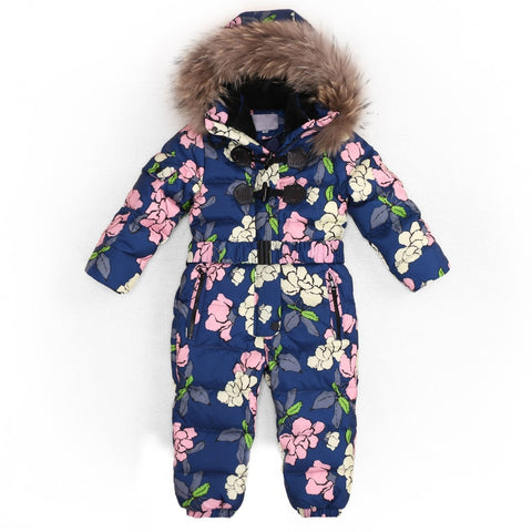 Children Winter -30 Degree Thicken Rompers Baby Boys Warm Hoodie Clothes Girls Windproof Snowsuit Down Jacket Jumpsuit