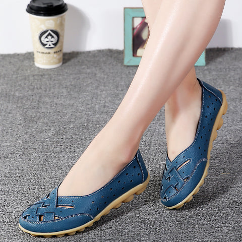 Women Cow Leather Flats Shoes Flat Heel Round Toe Anti Skid Casual Comfort Female Spring Autumn Summer All Match Sneaker