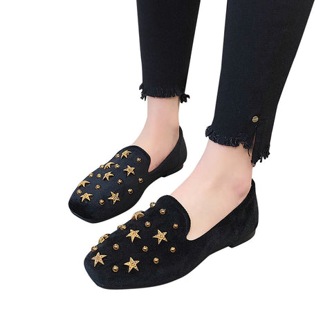 Flat Shoes Women Spring Autumn Slip-on Fashion Rivet Female Shoes Sexy Party Suede Lazy Woman One Single Ladies Flats