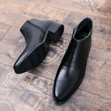Ankle Round Toe Zip Men Chelsea Boots  Med Sewing Solid Vintage Motorcycle Boots  Winter British Style Shoes