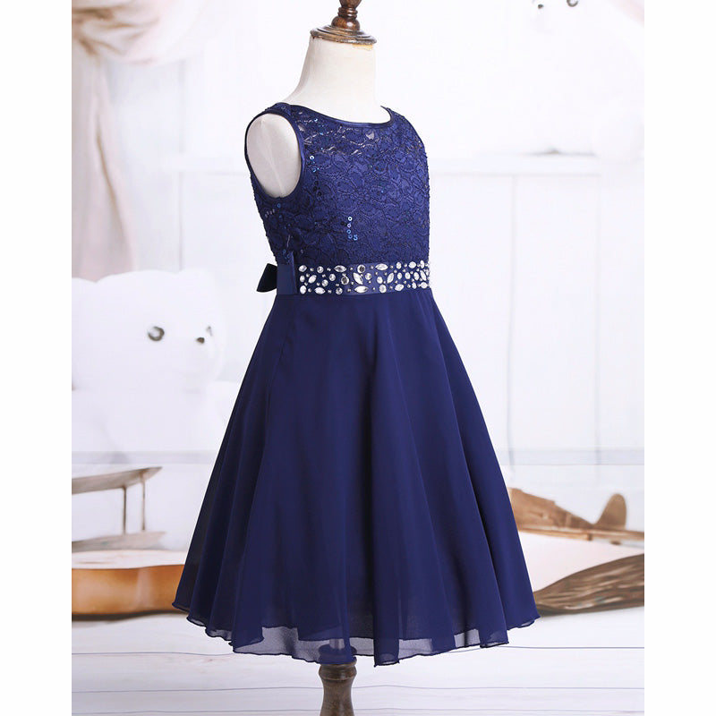 Girls Sequined Floral Lace Chiffon Dress Princess Formal Bridesmaid Wedding Birthday Party Dress First Communion Tutu Dress