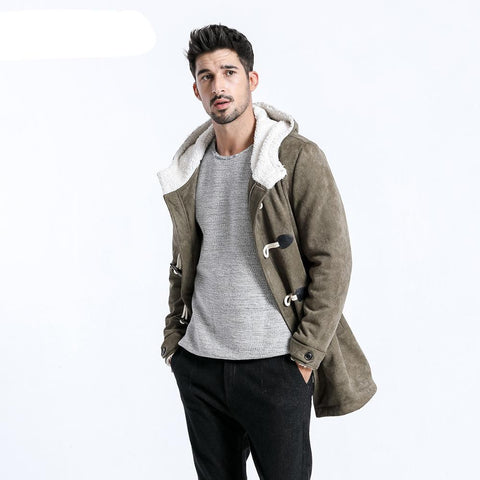 Men Winter Coats Casual Long Faux Suede Men Jackets Winter Outerwear Warm Thick Brand Clothing manteau homme 180527
