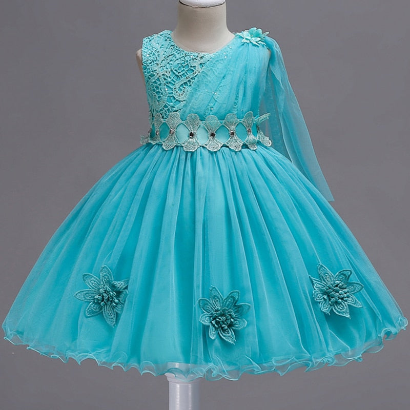 b8dd10bf0 Baby Girls Flower Layered Dress Kids Embroidered Appliques Wedding Princess  Party Tutu Black Dresses Girls Frocks ...