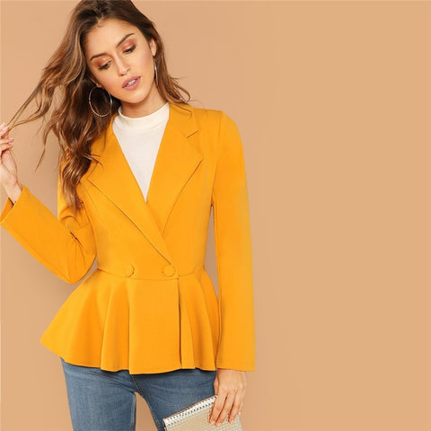 Ginger Elegant Women Blazers And Jackets Long Sleeve Office Lady Peplum Blazer Fall Womens Fashion Slim Outerwear