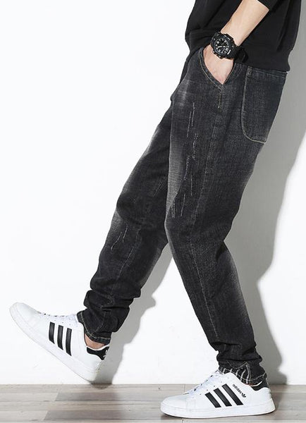 Summer Men's Jeans large sizes Harlan Jeans Men Clothing Men Baggy Trousers Loose Black Harem Jeans Male Bottoms