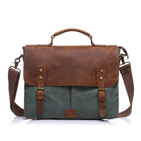 New Fashion Men's Vintage Handbag Genuine Leather Shoulder Bag Messenger Laptop Briefcase Satchel Bag Fit 14 inch Laptop