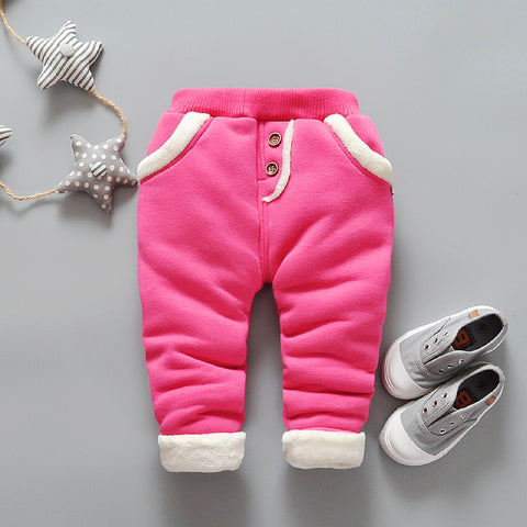 Baby girls pants winter warm thick trousers for infant kids solid outfits clothing toddle children cotton leggings