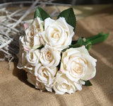 9PCS/lot Artificial Flowers Rose Silk Rose Bouquet for Home Decor Wedding Decoration Fake Flower