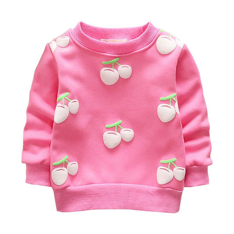 Toddler Baby Girls Boys Sweater Coat Autumn Winter New Cherry Children Plus Velvet Long Sleeve Soft Warm Sweatshirt Clothes