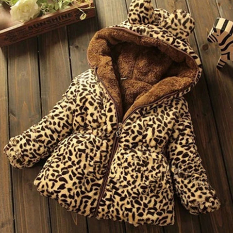 Winter Toddler Baby girls Warm Hooded Coat Leopard Outerwea kids Jacket Clothes