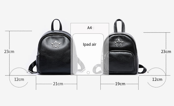 Westcreek Brand Women Genuine Leather Star Black Backpack Fashion Lady Mini Travel Anti Theft Backpack Girls Minimalist Bookbags