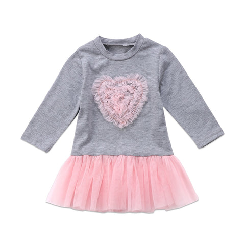 Adorable Baby Girls Long Sleeve Lace Tutu Dress Princess Heart shape Cute Girls dress Outfit christmas Clothes 2017