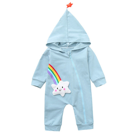 Toddler Lovely Rompers Clothing Infant Baby Boys Girls Long Sleeve Rainbow Star Print Jumpsuit Cotton Hoodie Clothes