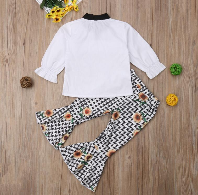 115c351e4188 ... Toddler Kids Baby Girls Clothes Sets T-shirt Tops Bow Long Sleeve  Sunflower Flared Pants ...
