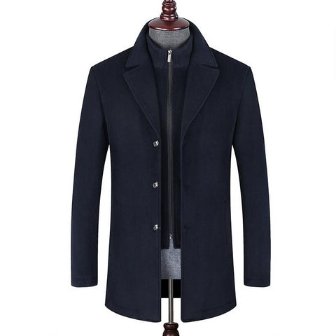 High quality luxury wool coat winter new style business casual detachable two-piece men's lapel coat