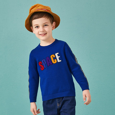 Cartoon fashion sweater for autumn panelled English letter pattern fashion clothes for boys sweater and pullovers kids