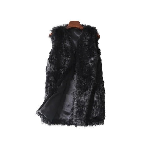 Fur Coats Vest Plus Size Winter Women's Faux Fur Vest Thick Warm Top Artificial Fur Vest Women Colete Feminino