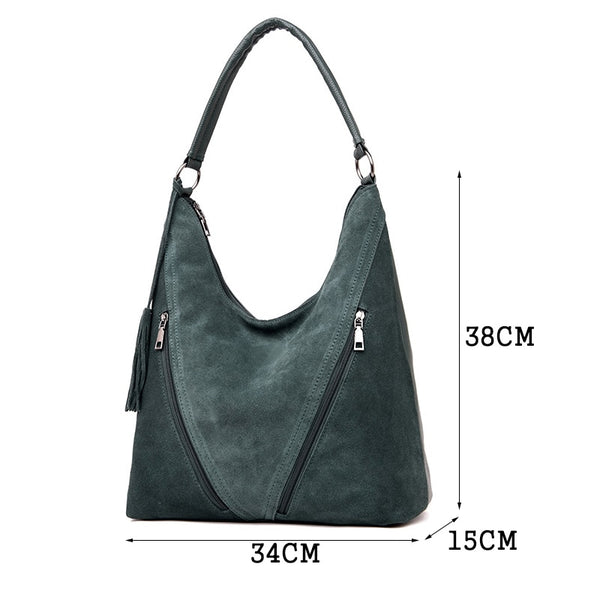 Fashion Split Leather Women Handbags Quality Suede Shoulder Bag Female Simple Crossbody Bags For Women Designer Top-handle Bags