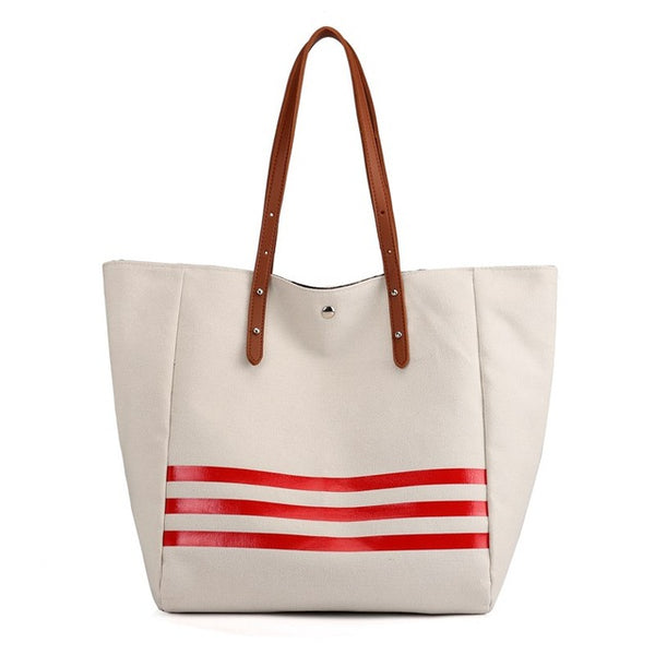 Canvas Bag Fashion Women Handbags Stripe Casual Lady Shoulder Bags Large Capacity Female Girl Tote Bag Bolsa Feminina
