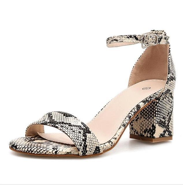 Leopard Print Women Sandals High Heels Summer Ankle Strap Square Heel Fashion Sandals Pumps Dropshipping Size 35-40