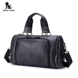 LAOSHIZI LUOSEN Genuine Leather Handbag Men Travel Bags Large Capacity Big Duffel Luggage Leather Traveling Bag Weekend Bag