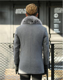 Autumn Winter Jacket Men Top Quality Wool Coats With 100% Real Fox Fur Collar Overcoat abrigo de lana hombre MF629