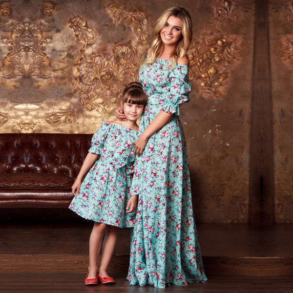 Mother Daughter Clothes Print Half Sleeve Dresses Family Matching Outfits Ankle-length Mini Dress Family Look Vintage Clothing