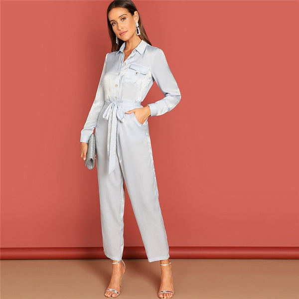 Grey Button Front Waist Belted Collar Jumpsuit Casual Plain Long Sleeve High Street Women Autumn Elegant Workwear Jumpsuits