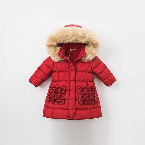 Winter baby down coat girls hooded outerwear children 90% white duck down padded kids with fur jacket