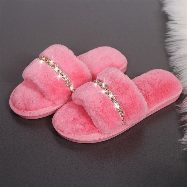 Fashion Rhinestone Women Indoor Slippers Warm Fur Home Floor Bedroom Shoes Soft Sole Non-Slip Female Cotton Slippers