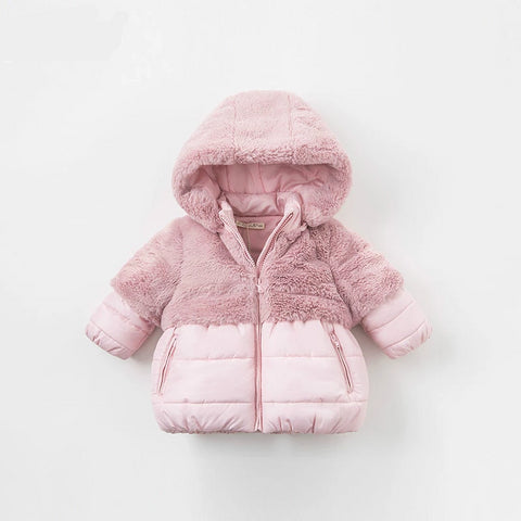 Winter baby girls pink hooded coat infant padded jacket children high quality coat kids padded outerwear