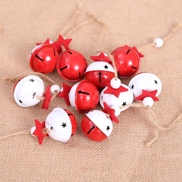 Red White Metal Jingle Bell with Lanyard Christmas Decoration for Home Merry Christmas Tree Hanging Ornaments Pendants 4cm