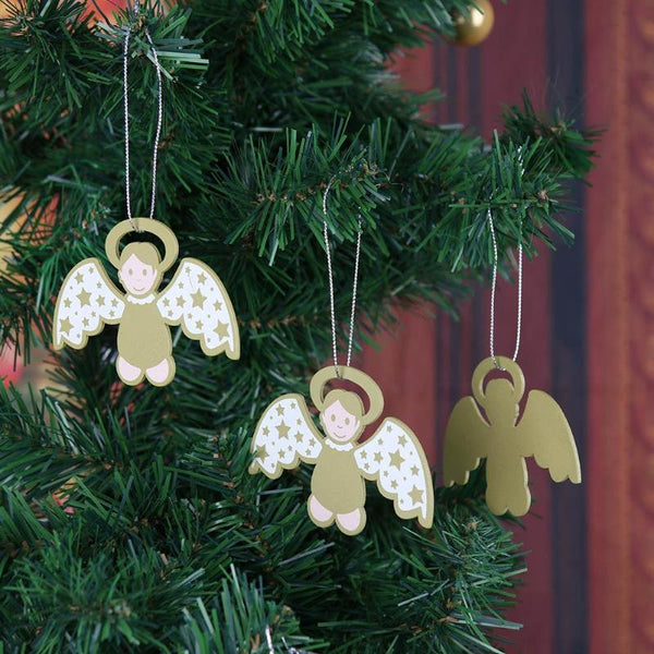 6 8 10Pcs Christmas Angel Wooden Pendants Ornaments DIY Wood Crafts Noel Tree Ornaments Christmas Decorations for Home