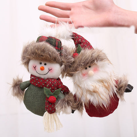 13x23cm Santa Claus Snowman Ornaments Toy Dolls Door Tree Hanging Kids Gift New Year Christmas Decoration for Home Party Supply