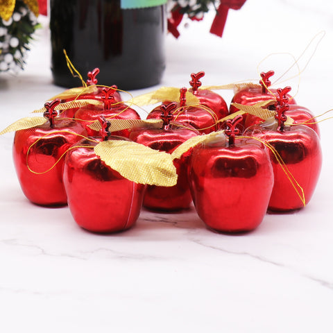 12pcs Red Golden Apples Christmas Tree Pendants Party Events Fruit Pendant Xmas Hanging Ornament Christmas Decorations for Home