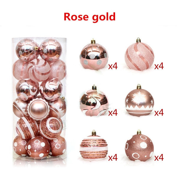 24pcs/lot 6cm Plastic Painted Mixed Christmas Balls for Window Home Furnish Christmas Decoration Red White Gold Ball