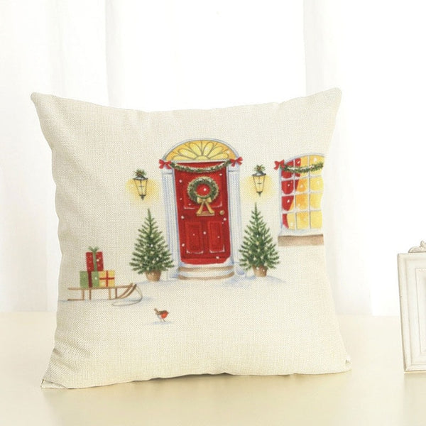 New Year Merry Christmas Tree Sleigh Christmas Ball Linen Decor Pillowcase 45X45cm Christmas Decorations for Home