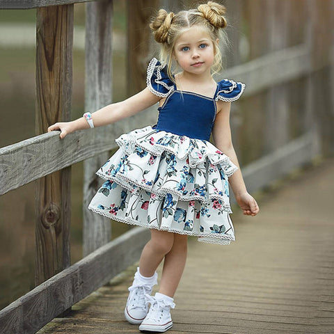 Girl Dresses Fashion Girls Print Dress Ins Explosion Baby Vest Dress Small Flying Sleeves Lace Princess Cute Cake Dress