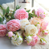 Beautiful Mariage Fake Flower Rose Peony Artificial Silk Flowers small bouquet flores home party spring wedding decoration