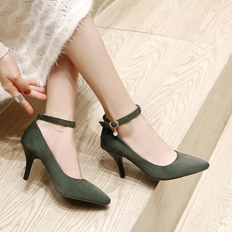 Women Thin High Heel Pumps Fashion Pointed Toe Casual Spring Fall Woman Shoes Black Green Gray