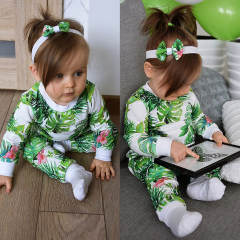 Newborn Infant Baby Girl  clothes Flamingo Tops Shirt Long Pants  headband 3Pcs Outfits Clothes set