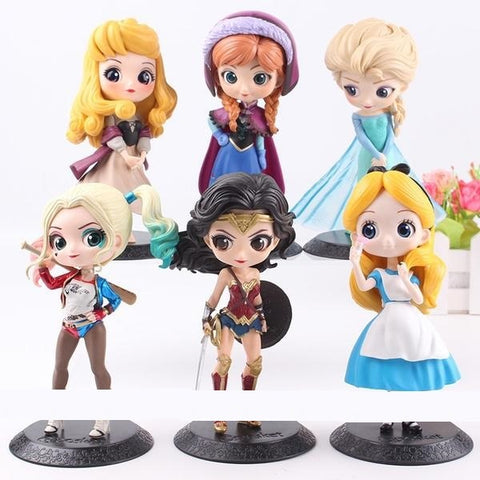 Q Posket Princess Doll Aurora Alice Anna Elsa Wonder Woman Harley Quinn Doll PVC QPosket Characters Figures Girls Toys Gifts