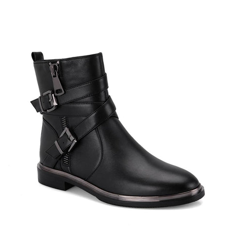 Autumn Woman Chelsea Boots Handmade Genuine Leather Round Toe Shoes Quality Buckle Square Low Heel Lady Boots M21