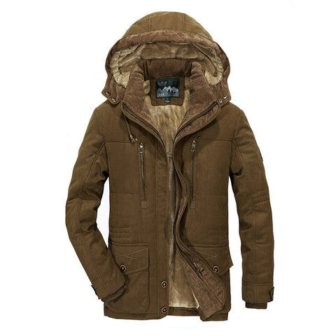 winter jacket men's thick warm multi-pocket middle-aged man hooded parks coat size 4XL 5XL 6XL