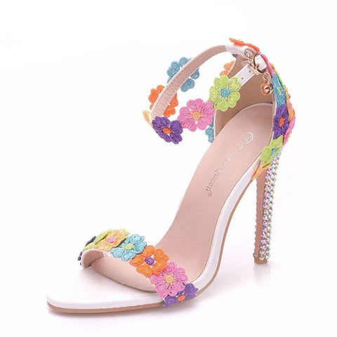 Crystal Queen Women Wedding Platform Sandals Thin High Heels Female Multicolour Lace Crystal Wedding Shoes Flower Party shoes
